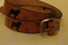 Newfoundland dog tooled leather belt