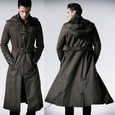 Men Brown Leather Hooded Steampunk Goth Military Trench Coat Overcoat