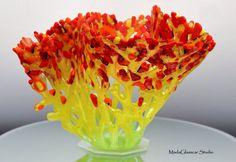 Poppy Fields Fused Glass Vase by MadaGlasscarStudio on Etsy