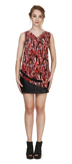 Printed silk double layer tank with asymmetric draped overlay.