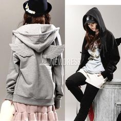 2014 New Fashion Korean Wings Casual Hoodie Jacket Coat Tops Outerwear
