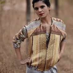 new style at #kinche.com  Bomber jacket for women in vintage Kantha #womenbomberjacket