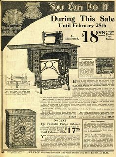 1914 Sears Household Catalog Franklin sewing machine