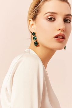 Product Name:Faux Emerald Drop Earrings, Category:ACC, Price:4.9