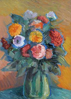 Nicolas Tarkhoff Flowers in a Green Vase 1900-20