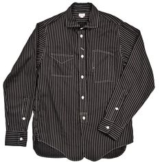 Chambry shirt, with boxy fit and topstitching details.  This is a classic men's shirt style, made unique by textile and details.