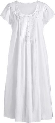 Lace Trimmed Cotton Nightgown with Pockets |  Short Sleeve   from Vermont Country Store. 100% Cotton.