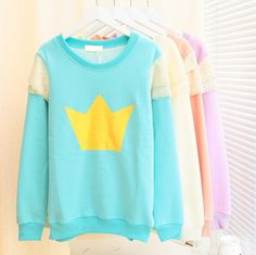 Cute Fashion ♡ Pastel Candy Color Sweatshirt with Crown Icon ♡ EuphoriaShop.storeenvy.com