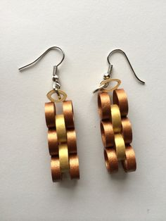 Quilling earring Metallic Brown and Cream by SmartQuillz on Etsy