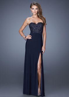Navy Long Beaded Lace Bodice La Femme 20680 Prom Dress With Slit Leg
