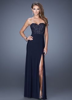 Navy Long Beaded Lace Bodice La Femme 20680 Prom Dress With Slit Leg