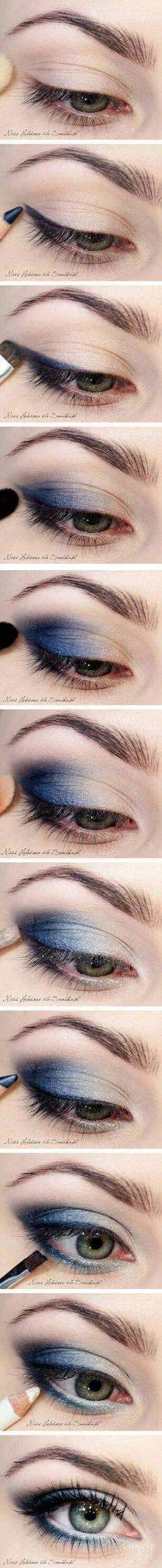 Blue how to!   I'm not a big fan of blue eye-shadow, but I'm absolutely loving this!