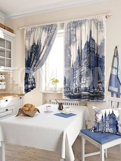 """Комплект штор """"Лозия (синий)"""": купить комплект штор в интернет-магазине ТОМДОМ #томдом #curtains #шторы #interior #дизайнинтерьера"""