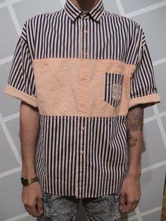 Vintage 80s Mens Stripped Button up Short Sleeve by kokorokoko, $34.00