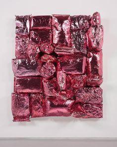 Jim Lambie, Pink Moon, 2016, potato bags, chrome paint, expanding foam on canvas