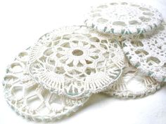 Vintage Cup Coaster lace, crochet, shabby chic decoration in tea party Set of 6 .