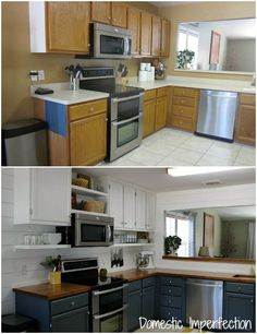 DIY kitchen remodel on a budget - before and after, raise cupboards to ceiling, add open shelving underneath. Not huge on the colors, but like the idea.