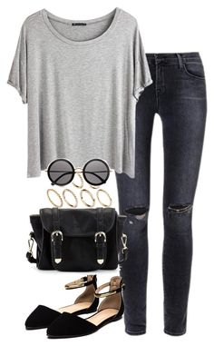 """Untitled #494"" by weyheytati ❤ liked on Polyvore featuring J Brand, Chicnova Fashion, Pieces, Poverty Flats and The Row"