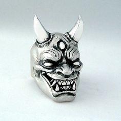 SG - 3 eyed Japanese Hannya Demon Ring Silver Anarchy Custom therealsg Harley TC