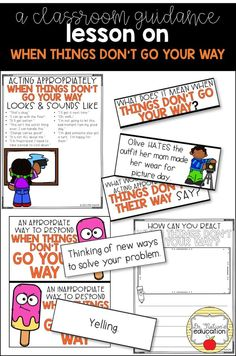 A classroom guidance lesson on when things don't go your way -- handling change and disappointment. Primary School Counselling, Elementary School Counseling, School Social Work, School Counselor, Elementary Schools, Career Counseling, Social Skills Activities, Teaching Social Skills, Speech Therapy Activities
