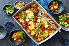 This easy nasi goreng tray bake recipe is the ultimate family dinner idea. Full of flavour and great for sharing. Topped with eggs for extra protein. Tray Bake Recipes, Veggie Recipes, Asian Recipes, Baking Recipes, Chicken Recipes, Dinner Recipes, Healthy Recipes, Ethnic Recipes, Veggie Meals