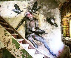 'Epidural Hematoma' - haunting art by @promesto in Germany. http://globalstreetart.com/promesto #globalstreetart #promesto #wallart #streetarteverywhere #germany