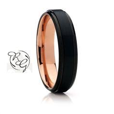 Black with Rose Gold Tungsten Wedding Band6mm New by CemCemDesignz