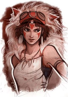 Princess Mononoke. Reminds me of Audrey from Atlantis: The Lost Empire. Posted on slodive.com.
