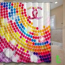 Chanel Dot Colorful Circle Shower Curtain