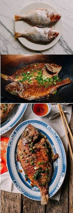 Cantonese Pan Fried Fish recipe by the Woks of Life Asian Fish Recipes, Whole Fish Recipes, Fried Fish Recipes, Thai Fried Fish Recipe, Chinese Whole Fish Recipe, King Fish Recipe, Ethnic Recipes, Vietnamese Recipes, Seafood Recipes