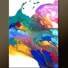 Abstract Art - 18x24 Contemporary Modern Original Painting on Canvas by Destiny Womack - dWo - In my Dreams