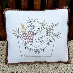 Love Letter Hand Stitched Country Primitive by GypsyWindPrimitives