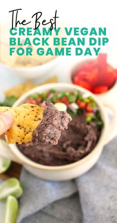 This dip is perfect for your next dinner party or Super Bowl Sunday. Click through for the recipe! Dairy Free Dips, Dairy Free Recipes, Vegan Recipes, Cooking Recipes, Black Bean Dip, Black Beans, Bean Dip Recipes, Snack Recipes, Healthy Granola Bars
