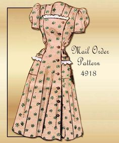 1940s Dress Pattern Vintage Mail Order 4918 WWII Swing Era Lovely One Piece Housedress