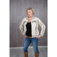 Adamelo Denim Jacket Black Pattern, Silver Coins, Black Print, Looks Great, Boho, Denim, Sweaters, How To Make, Cotton