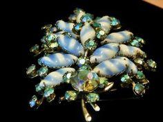 Vintage Rhinestone Brooch Milk Glass AB Aurora Borealis Mid Century Hollywood Art Glass Striped Milkglass Adjustable  Moveable Brooch Bride