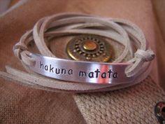 Hakuna matata stamped bracelet Wrap Faux by PawlowskiCreations, $19.70