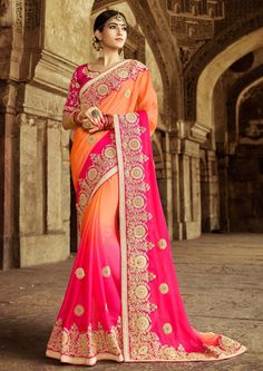 Price @5400.00 INR  Colour : Peach & Pink Saree Fabric : Georgette   Blouse Fabric : Art Silk             Work :  Heavy Embroidery, Mirror Work With Moti Work
