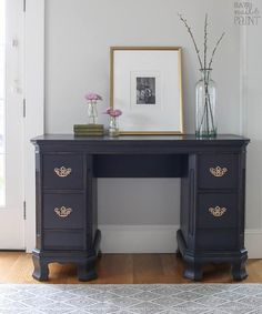 """Antique Black"" Vintage Desk 