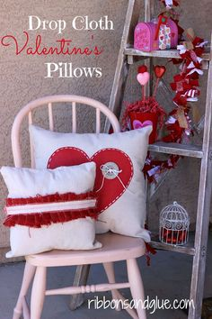 How to make DIY Valentine's Pillows from Painted Drop Cloths and Burlap. Easy Tutorial! My Funny Valentine, Valentine Crafts For Kids, Valentines Day Decorations, Valentines Diy, Kids Crafts, Diy Valentine's Pillows, Food Pillows, Cushions, Ribbon Topiary