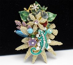 Huge STANLEY HAGLER  Brooch  Salamander Glass Beaded Rhinestone Enamel