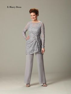 INM-407 Plus Size Long Sleeves Two Pieces Mother of the Bride Pant Suits Wedding Party Gown Elegant Grey Bridal Mother Dress