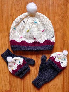 "Ravelry: ""Sweeter Than a Cupcake"" Hat and Fingerless Mitten Set in Girls and Adult Sizes pattern by Lauren Riker (finger crochet pom poms) Knitting For Kids, Loom Knitting, Baby Knitting Patterns, Free Knitting, Knitting Projects, Crochet Projects, Crochet Patterns, Bonnet Crochet, Crochet Beanie"