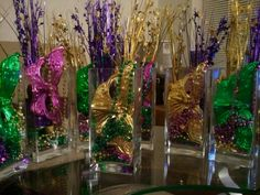 Mardi Gras themed- centerpieces A mask & Beads At Each Place Setting  COOL !!!