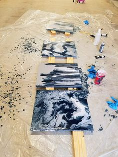 Fluid acrylic painting is a great DIY abstract art project!