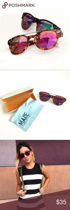 "MADE Eyewear Chester Sunglasses ""Chester"" in Safari Tortoise frames with magenta lenses by MADE eyewear. Unisex. Originally $95. Only worn twice. MADE Eyewear Accessories Sunglasses"