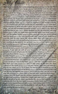 A love letter from God. This letter was given to me many years ago during a time when I was straying away from my faith. I brought such tears to my eyes, that I immediately bean to pray, and knew that it was a message from Abba