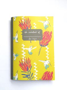 Floral Notebook  Grid Notebook with Hummingbird by CanigrinShop