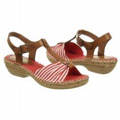 $39.99 CLIFFS Cheerio Sandals Red Natural Stripe Women`s Sandals class