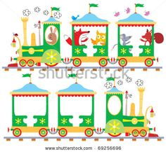 stock vector : Cartoon vector illustration of woodland animal characters going for a ride in an old fashioned steam train. Also included is an empty train to which any other characters can be added.